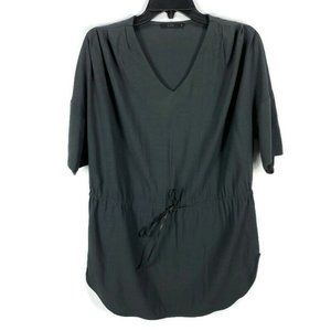 COS Charcoal Gray Leather Tie Waist Tunic Top